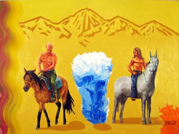 <em>Mark and Vlad enter the Forbidden Zone</em>. Oil on wood, 2012.