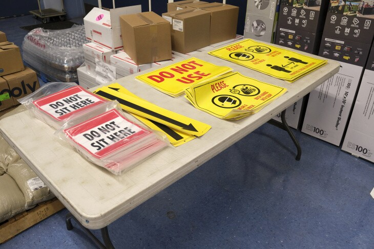Signage from L.A. Unified sent to campuses meant to help enforce social distancing guidelines.