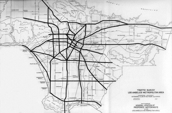 Map showing proposed freeway routes through Los Angeles County. From the Automobile Club of Southern California's Traffic Survey, 1937. Courtesy of the Metro Transportation Library and Archive.