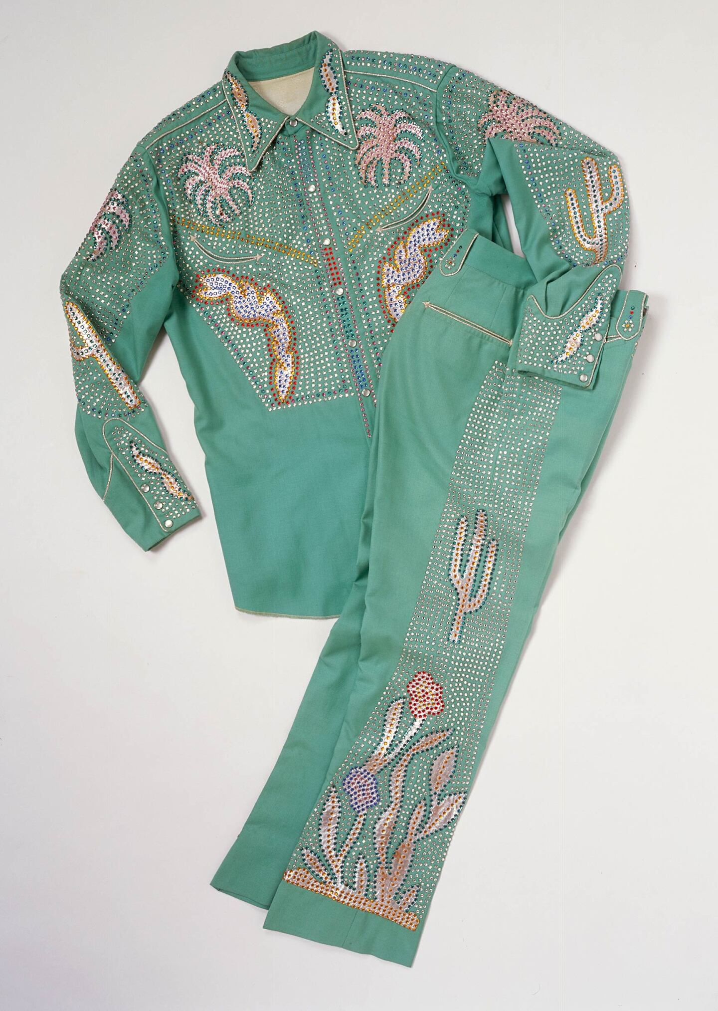 Nathan Turk outfit with palm trees and cacti set with rhinestones. Custom made for B.L. Lake. | Courtesy of Autry Museum of the American West