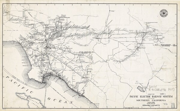 A 1925 map of the Pacific Electric interurban system. The railway also stretched into Riverside and San Bernardino counties. Courtesy of the Map Collection - Los Angeles Public Library.