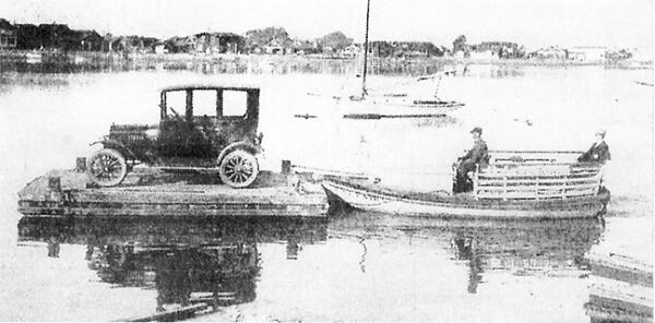 The Fat Fairy went into service in 1920 carrying up to 20 passengers for 5 cents each. A year later, when a barge was lashed to it, it could also transport one automobile.