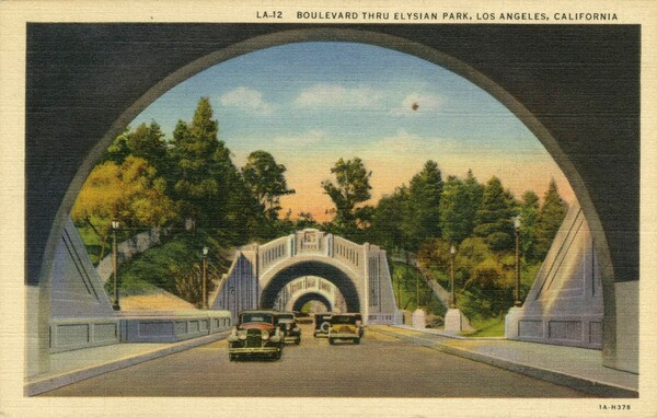 A 1931 postcard of the Figueroa Street Tunnels. Courtesy of the Werner von Boltenstern Postcard Collection, Department of Archives and Special Collections, William H. Hannon Library, Loyola Marymount University.