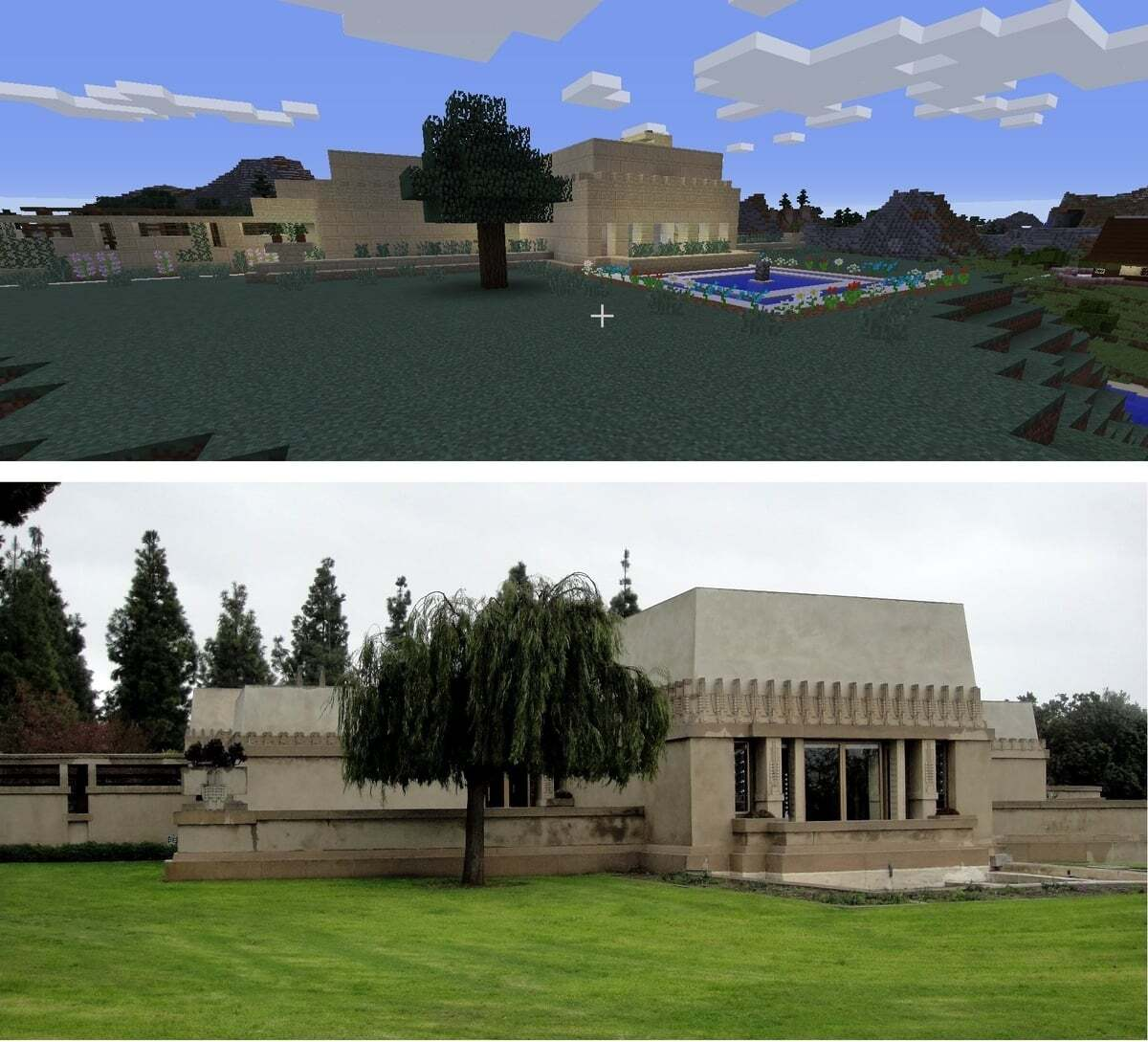 A side-by-side of the original and the Wrightcraft recreation of Frank Lloyd Wright's Hollyhock House | Kate Hedin FLW AB s9 1200