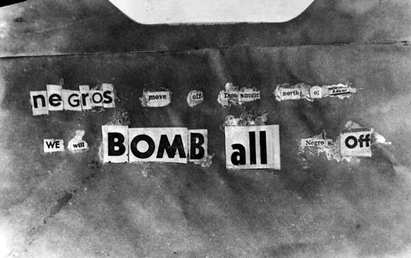 A copy of the note left at William Bailey's house after it was bombed in 1952.   Image: Courtesy of Los Angeles Public Library