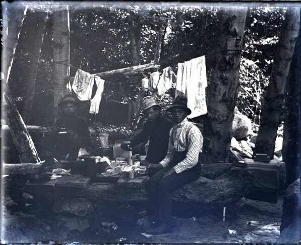 The same three Pomona College hikers, camping beneath Mount Baldy in the San Gabriel Mountains. Courtesy of the Boynton Collection of Early Claremont, Honnold Mudd Library. Special Collections.