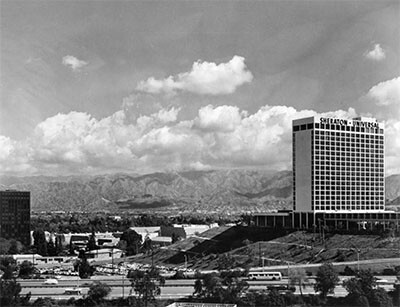 Looking north acrtoss the 101 Freeway towards Universal City and the Sheraton-Universal Hotel, ca. 1955 | Security Pacific National Bank Collection/Los Angeles Public Library