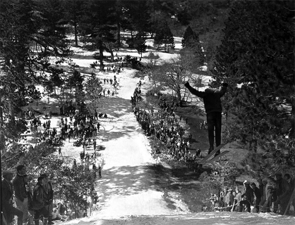 Ski jumping at Big Pines Recreation Camp, 1929 | Digitally reproduced by the USC Digital Library; From the California Historical Society Collection at the University of Southern California