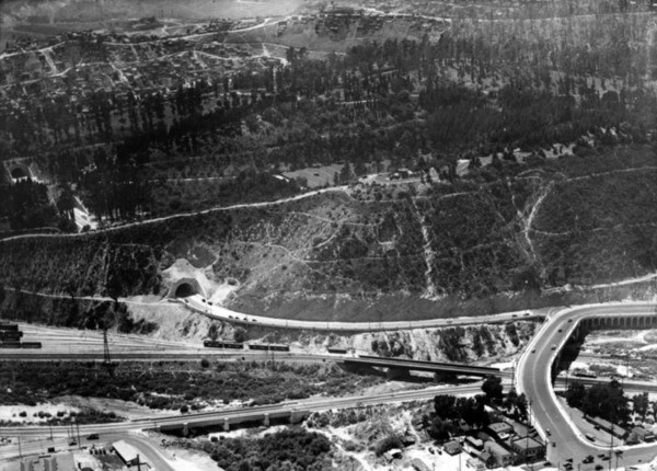 From 1931 to 1937, Figueroa Street merged sharply with Riverside Drive immediately after leaving the tunnels. Courtesy of the USC Libraries - Los Angeles Examiner Collection.