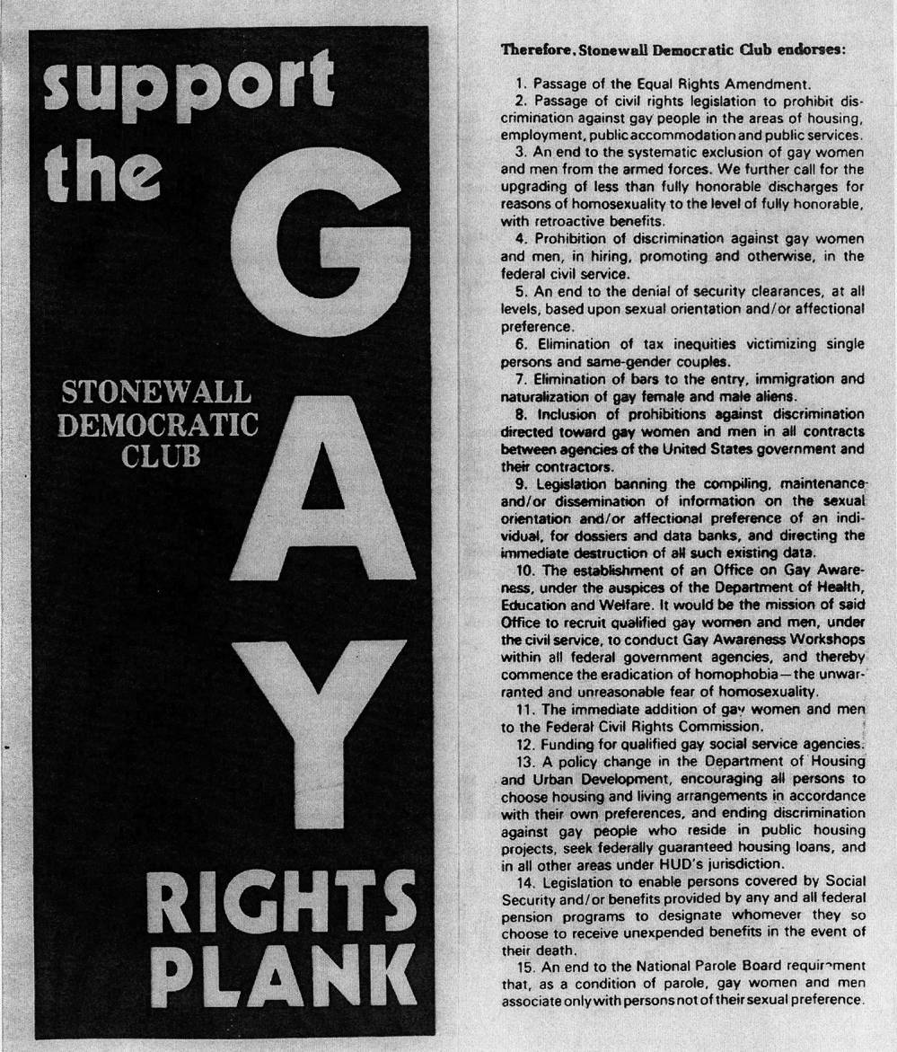 The Stonewall Democratic Club Plank, 1975. The plank advocated for structural change, including reform in fed- eral housing policy, in addition to providing a clear left-liberal queer vision. ONE National Lesbian and Gay Archives.