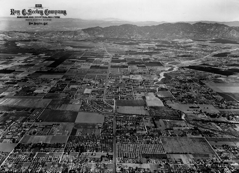 Aerial view of the San Fernando Valley north on Sepulveda Blvd. from Sherman Way, 1/30/1946.