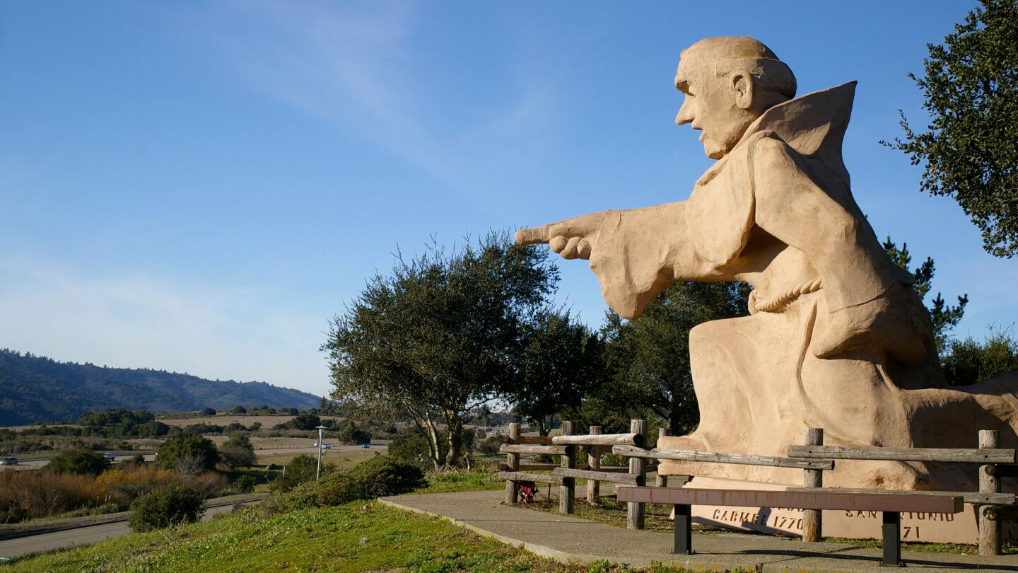 This statue of Junipero Serra towers over Interstate 280 near the Crystal Springs Reservoir south of San Francisco.