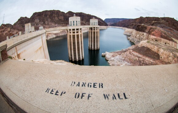 Intake towers poke out of the water at Hoover Dam. | Photo: Brittany App.