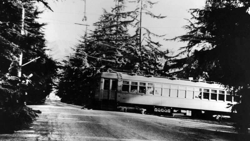 A Pacific Electric interurban car crosses Santa Rosa Avenue. Courtesy of the Photo Collection - Los Angeles Public Library.