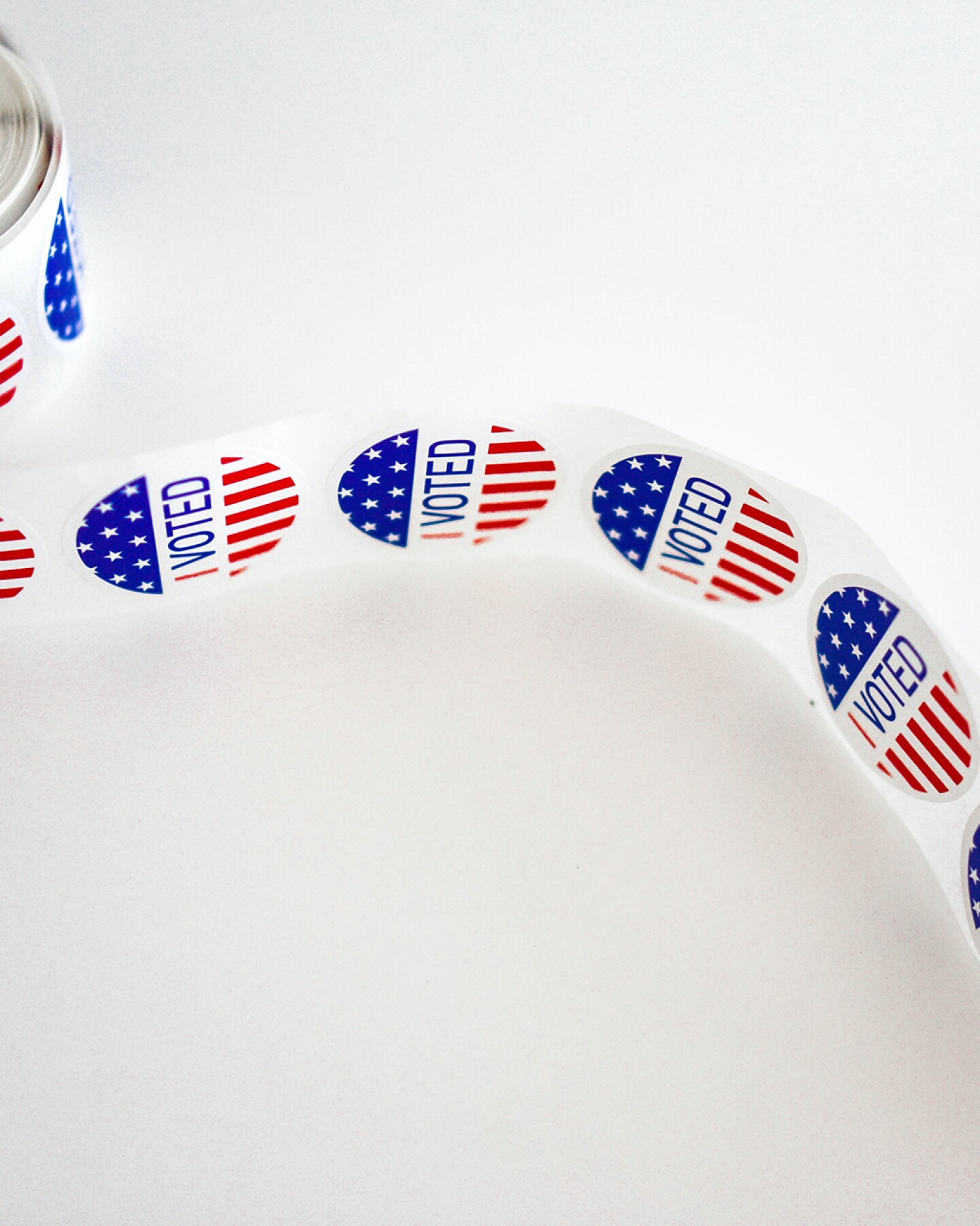 "A roll of ""I Voted"" stickers 