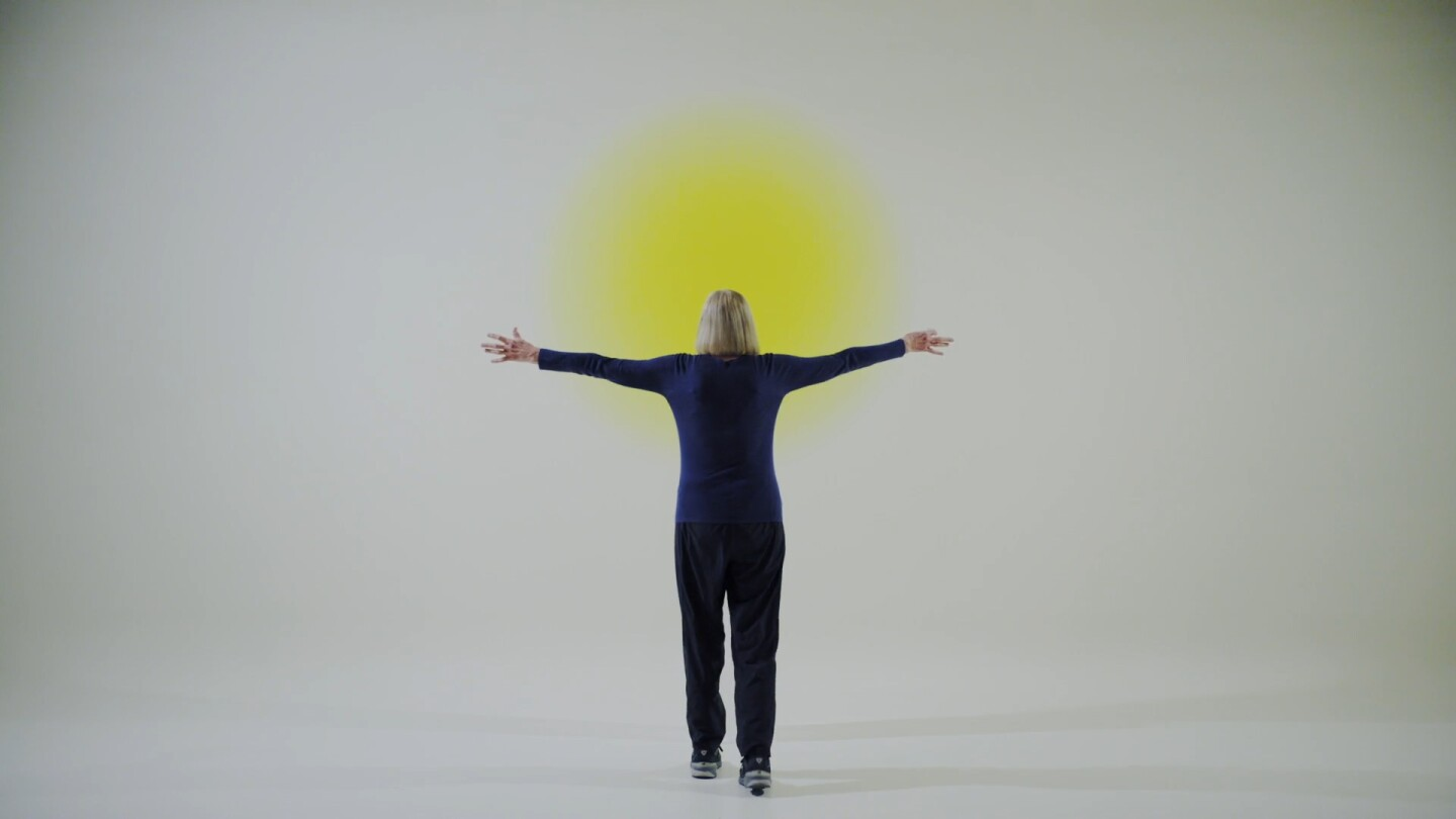 "Helen Pashgian with one of her Light and Space artworks | Still from ""Light & Space"" ab s11"