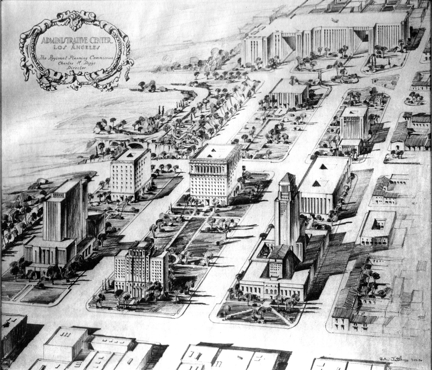 Administrative Center plan, 1927, perspective drawing