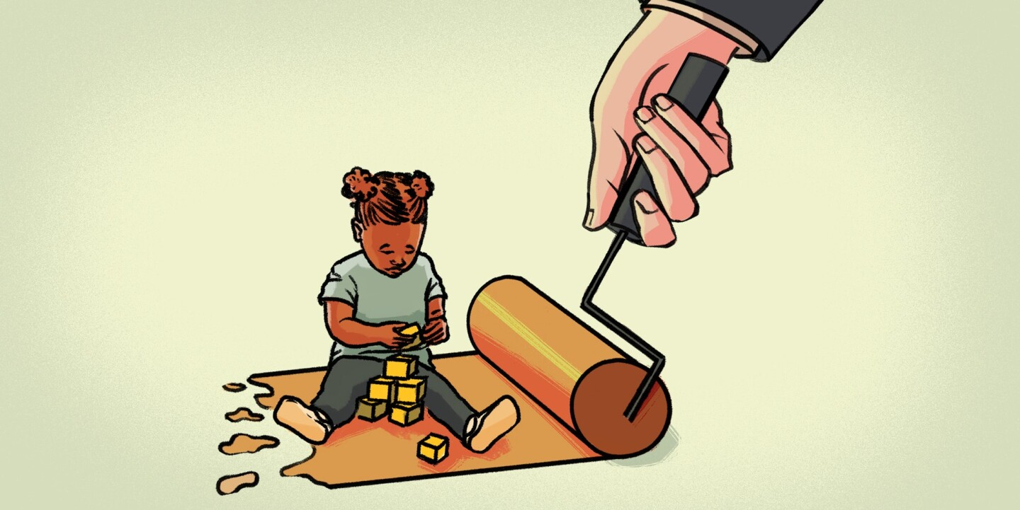 Illustration representing kids getting exposed to toxic levels of lead.