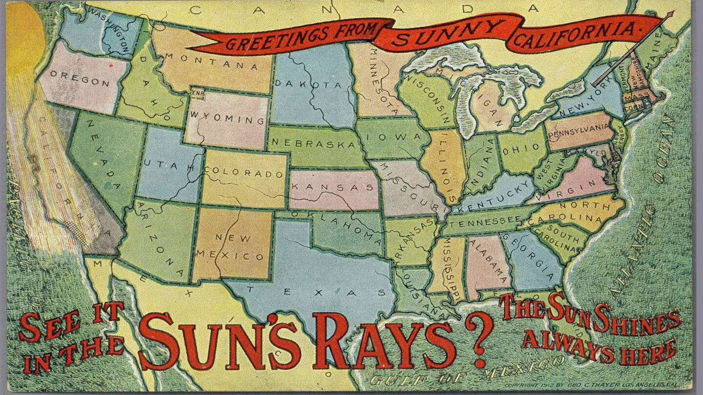 """Greetings from Sunny California   """"Copyright 1912 by Geo C. Thayer, Los Angeles, Cal."""""""