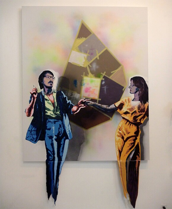 """V&B (Alex Jacobs and Ellemieke Schoenmaker). """"Dancing in the Belly of the Painting,"""" 2014. Mixed media on canvas. 66 x 54 in."""