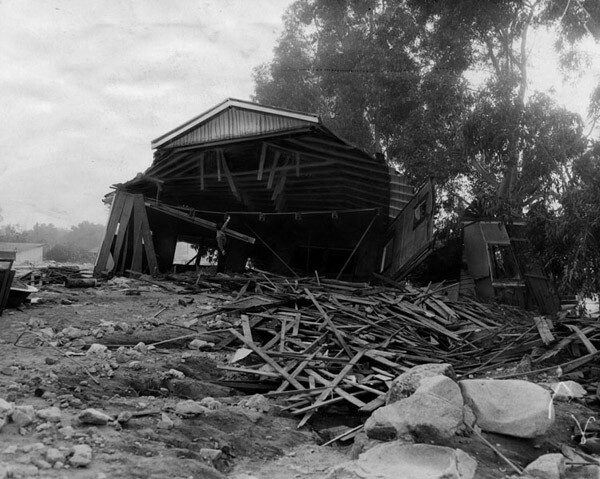 A house that was washed a block away, 1934. Courtesy of the Los Angeles Public Library.