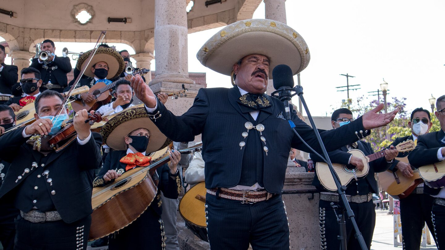 A mariachi group performs at Mariachi Plaza in Boyle Heights to fundraise for the mariachi relief fund. | Courtesy of Community Power Collective