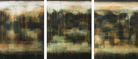 "Julie Montgomery, ""Mariposa Green,"" Acrylic on canvas 54"" x 120"" triptych"