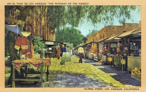 Postcard depicting Olvera Street circa 1940. Courtesy of the Werner Von Boltenstern Postcard Collection, Department of Archives and Special Collections, Loyola Marymount University Library.