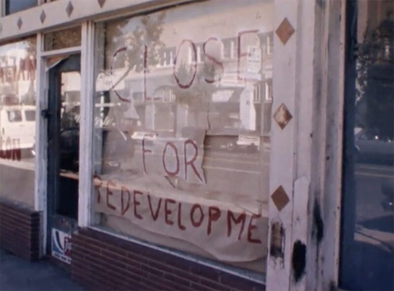 """Closed for Redevelopment:"" Still from 1983 KCRA TV news clip on Oak Park crime, blight and redevelopment."