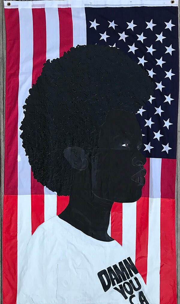 "Idris Habib's ""Ne,"" 2020. acrylic, pencil on polyester blend flag 