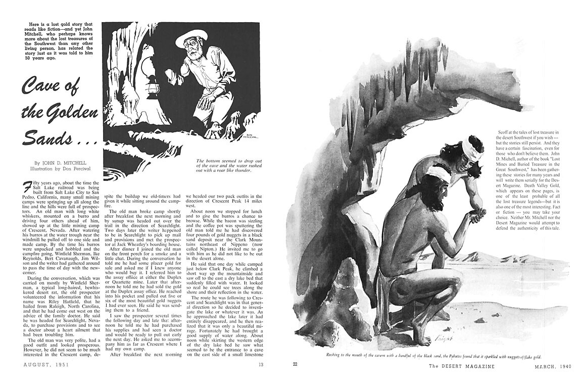 """""""Cave of the Golden Sands"""" (left) and """"Death Valley Gold"""" (right) are two of John D. Mitchell's lost mine stories published in Desert Magazine during 1940 and 1951. Each incorporate varying storylines woven into Dorr's legend."""