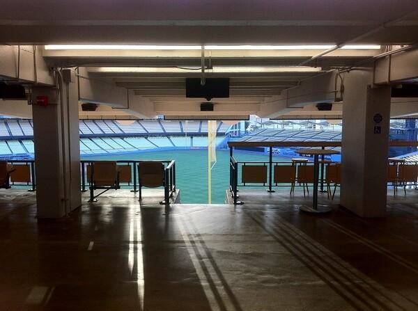 View of the empty baseball diamond
