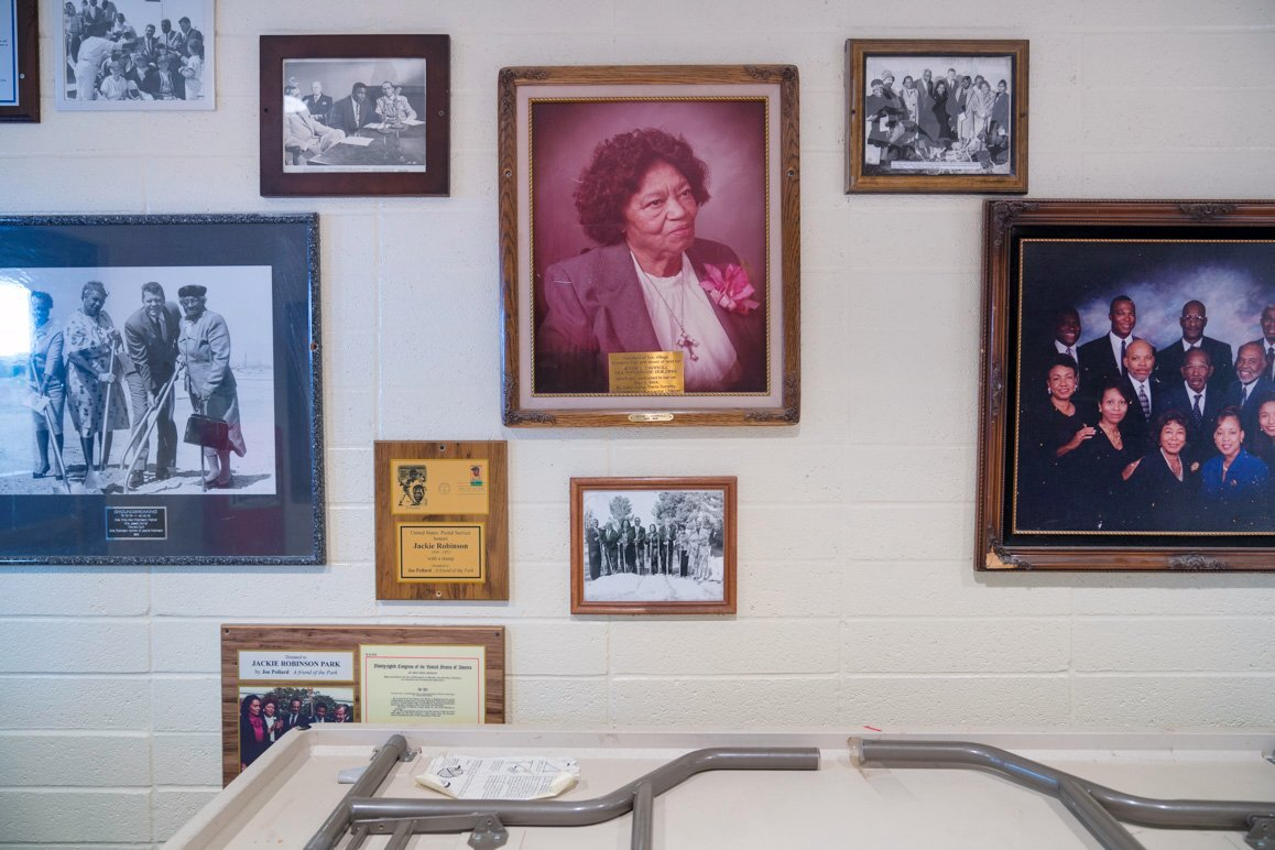A collection of photographs and other historical memorabilia on display at the Jackie Robinson Park in Sun Village, CA. | Kim Stringfellow © 2017.