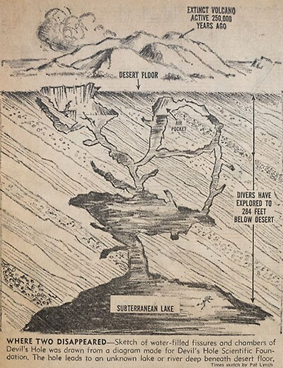 A 1965 newspaper illustration of Devils Hole based on Jim Houtz's original map rendering of the submerged cavern. | Photo: Jim Houtz collection.