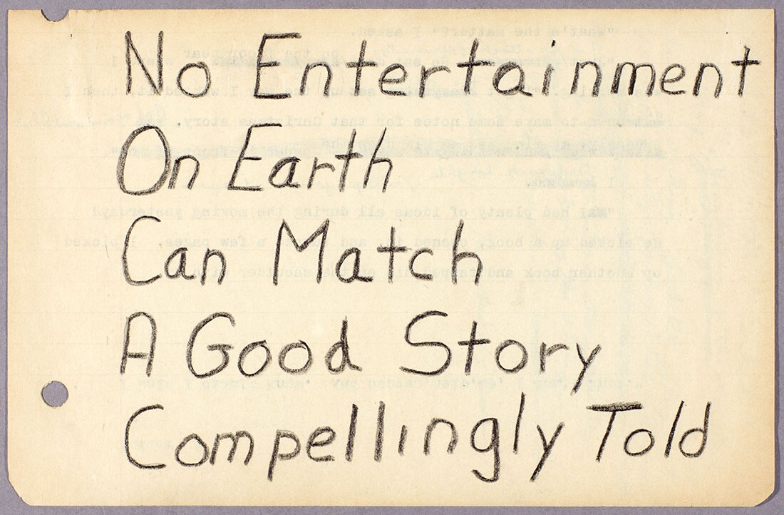 "Octavia E. Butler, notes on writing, ""No entertainment on earth…"" ca. 1970-1995. The Huntington Library, Art Collections, and Botanical Gardens. © Estate of Octavia E. Butler."
