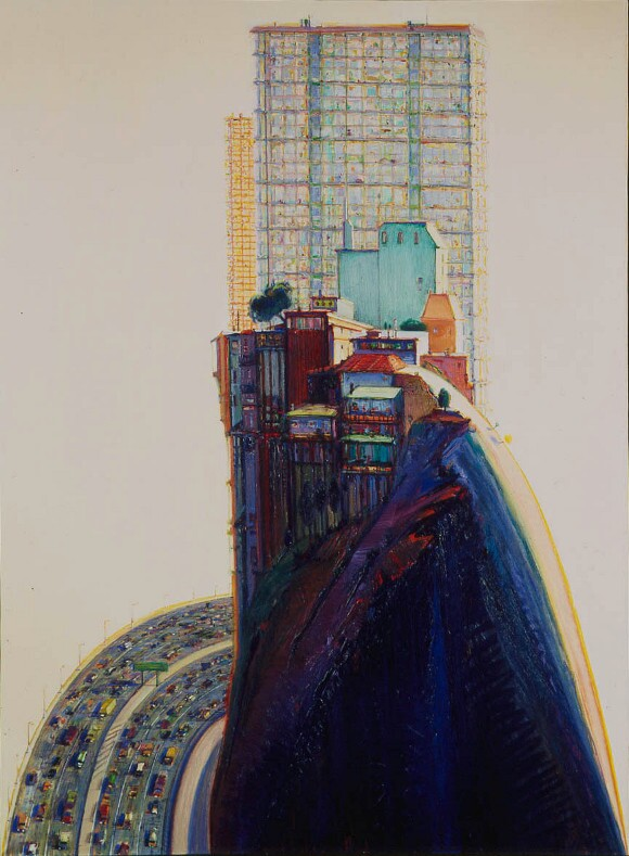 "Wayne Thiebaud, ""Apartment Hill,"" 1980, oil on linen, 65 x 48 in. © Wayne Thiebaud / Licensed by VAGA, New York."