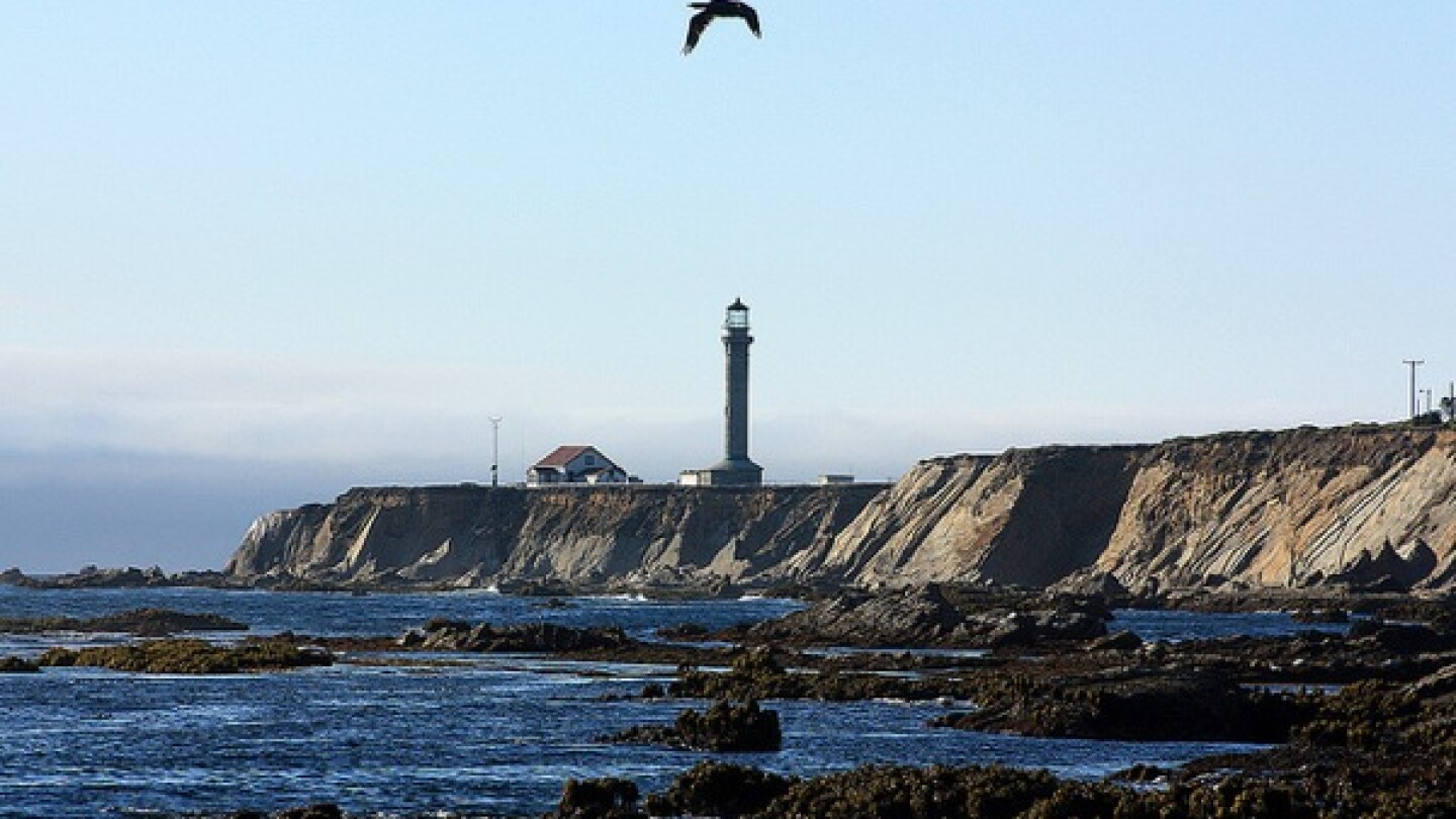 Tidal flats and the Point Arena Lighthouse.