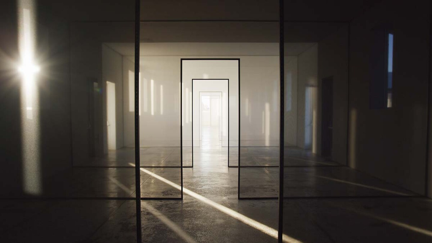 "A large-scale Light and Space artwork from Robert Irwin called ""untitled (dawn to dusk.)"" 