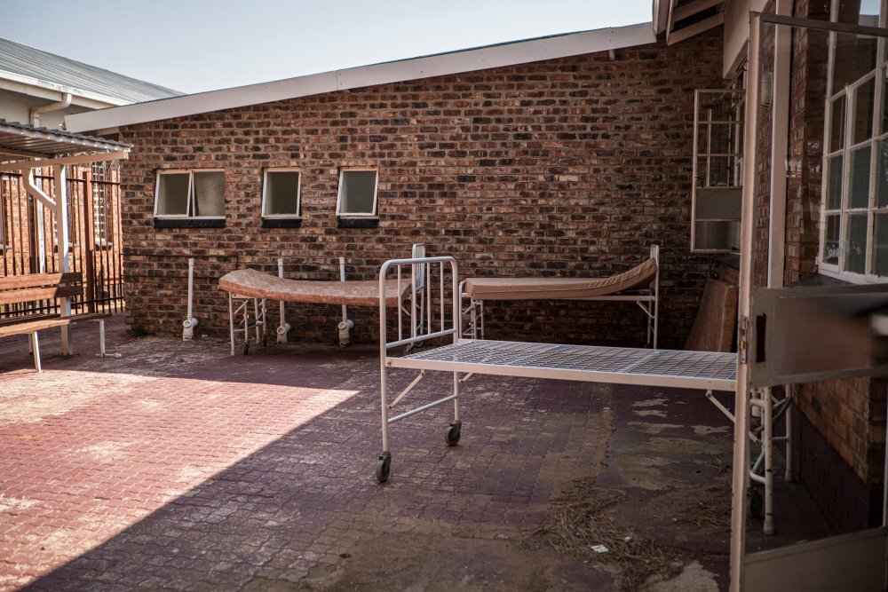 Beds stand in a courtyard outside the COVID-19 Ward of the Taung Hospital in Taung, the North West Province, South Africa, on September 4, 2020. | Thomson Reuters Foundation/Gulshan Khan