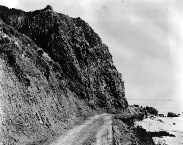 This one-lane road along the coast north of Santa Monica, seen here in 1905, eventually became Pacific Coast Highway. Courtesy of the Photo Collection - Los Angeles Public Library.