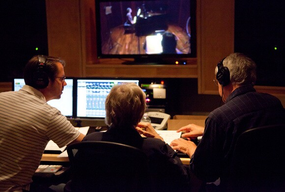 "Matthew Snyder, Carol Rosenberger and Mark Abel work in the recording studio during the production of ""Terrain of the Heart."" 