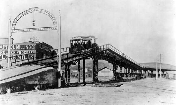 Circa 1889 view of the Los Angeles Cable Railway's Downey Ave. viaduct over the Los Angeles River. Courtesy of the Photo Collection, Los Angeles Public Library.