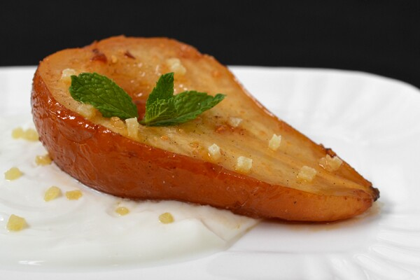 Roasted Pears with Honey, Ginger and Vanilla