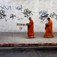 Vietnamese monks-in-training walk the streets of Koreatown   Don Farber