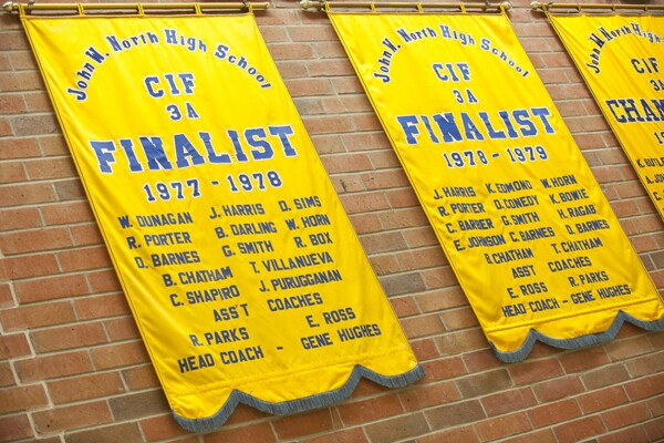 CIF banners - D Sims, T Chatham and their teammates on the wall   Photograph by Douglas McCulloh