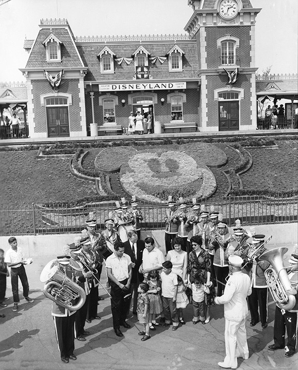 Disneyland Band performing at the Main Entrance in the 1950s. | Photo: Courtesy Disneyland Resort Archives.