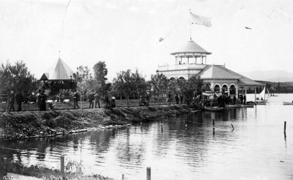 A three-story boathouse replaced the temporary shed in 1894. Courtesy of the Photo Collection, Los Angeles Public Library.