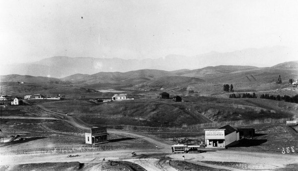Panoramic view of the Crown Hill neighborhood, ca.1886. A Second Street Cable Railway cable car is visible in the bottom-right. Courtesy of the Security Pacific National Bank Collection, Los Angeles Public Library.