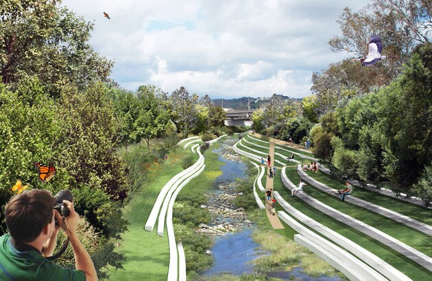 This rendering looking east towards the Arroyo Seco at West Avenue 26 Bridge is part ofa student project that proposes turning the present concrete-laden confluence of the Los Angeles River and the Arroyo Seco into a recreation destination. |Yingjun Hu