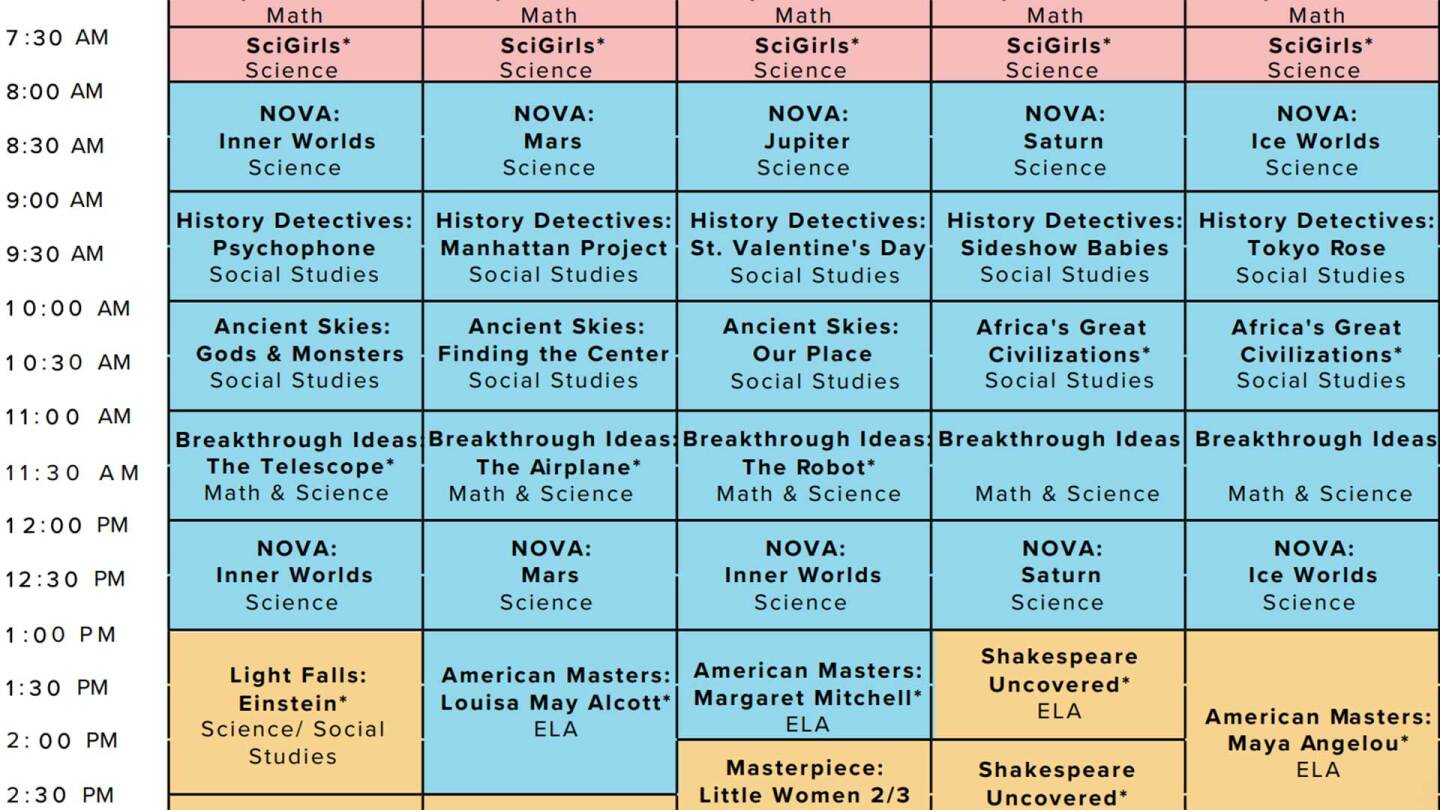 At-Home Learning programming schedule screen shot